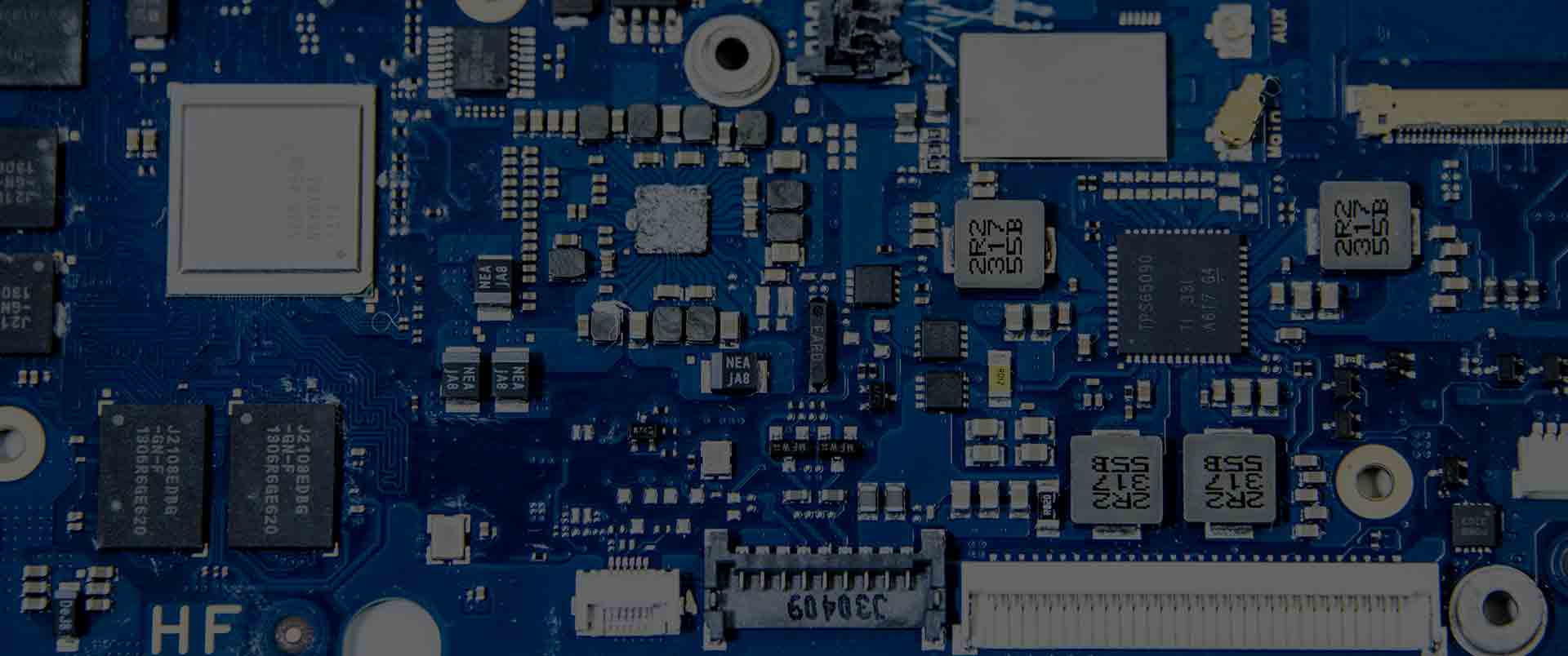 Close up shot of a blue motherboard